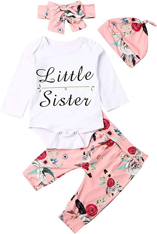 Headband PICK YOUR LOOK Newborn Infant Baby Girl Long Sleeve Sleepsuit Rompers Little Sister Letter Jumpsuit Bodysuit Hat