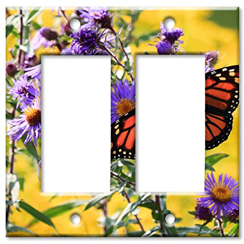 Purple Solid Faceplate Cover - Art Plates 2-Gang Rocker (Decora) OVERSIZE Switch Plate/OVER SIZE Wall Plate - Monarch Butterfly on Purple Flower
