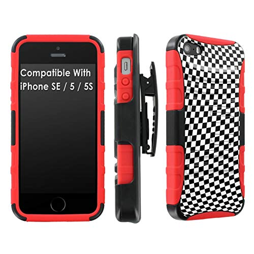 Case Protector Checkers ([Mobiflare] Apple iPhone [SE/5S/5] [Black/Red] Dual Armor Case with Holster [Checkers Print])