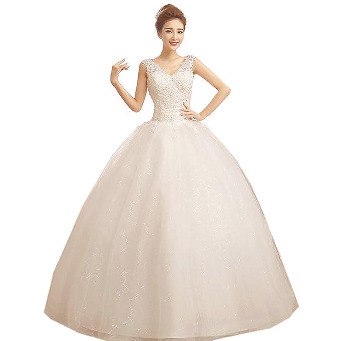 Partiss de la mujer correa encaje y tul vestido de novia Blanco blanco Chino M