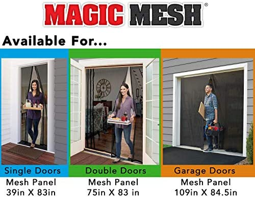 Magic Mesh Deluxe- Black- Hands Free Magnetic Screen Door, Mesh Curtain Keeps Bugs Out, Frame Hook & Loop, Hands Free, Pet & Kid Friendly- Fits Doors as much as 39 x 83 Inches
