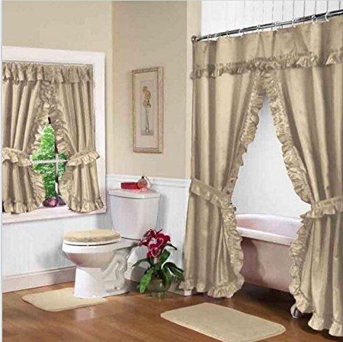 Beige Linen Double Swag Shower and Window Curtain Set with liner (Shower Curtain Window Set)