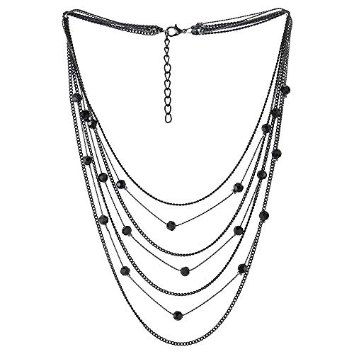 COOLSTEELANDBEYOND Grey Black Waterfall Multi-Strand Long Chain Statement Necklace Black Crystal Beads Pendant
