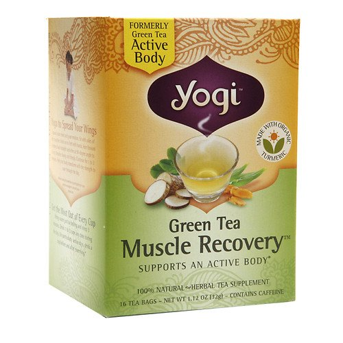 Yogi Tea Green Tea, Muscle Recovery 16 bags (Pack of 2) (Tea Muscle Recovery Green)