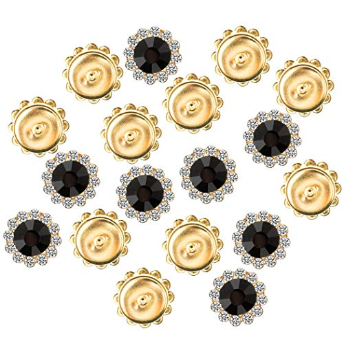 195Pcs Crystal Rhinestones Sew on, Bright Rhinestones Flatback Beads Buttons with Diamond DIY Craft for Clothes Garment, Clothing, Bags, Shoes, Dress, Wedding Party Decoration - Dress Black Brooch