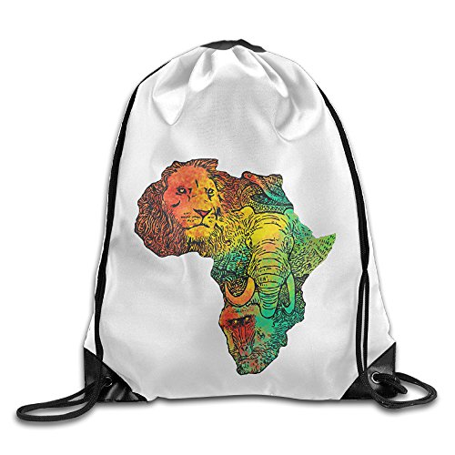 Price comparison product image Bekey Africa II Map Drawstring Backpack Sport Bag For Men & Women For Home Travel Storage Use Gym Traveling Shopping Sport Yoga Running
