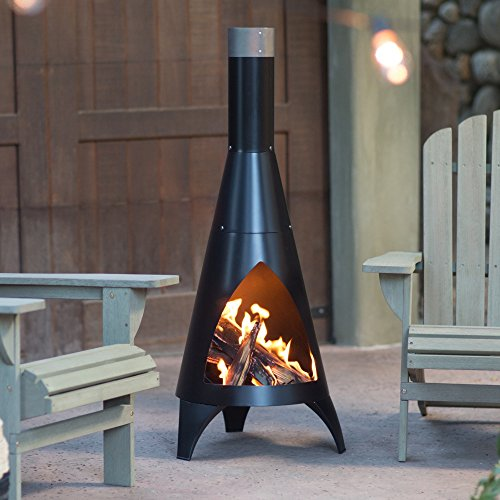 (Chiminea by Red Ember Alto with Robust Steel Construction, Deep Black Finish )