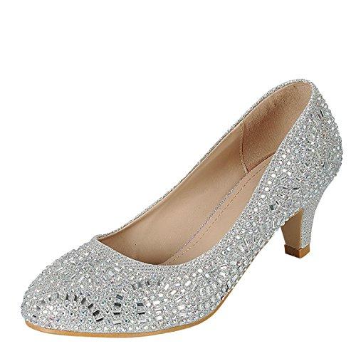 Med Heel Pump (Forever Link Womens Almond Toe Med Low Kitten Heel Jeweled Rhinestone Crystal Slide Slip On Pump Shoes 8 Silver)