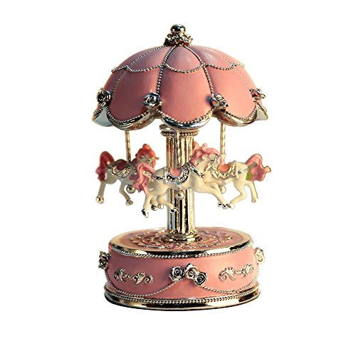 (Carousel Horse Musical Box with Music of Castle in The Sky,Color Pink,Large Size Color Change LED Light)