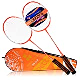 DECOQ All Steel Shaft and Frame EVA Foam Overgrip Badminton Rackets for Kids&Adults 2 Player Badminton Racquet Replacement Set for Outdoor and Indoor Sports with Carrying Bag