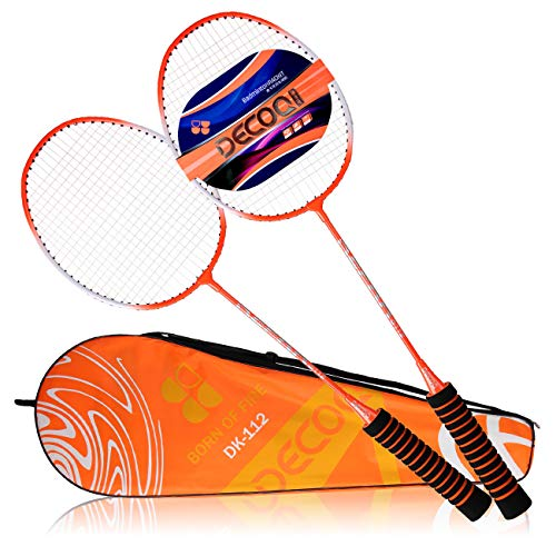 DECOQ All Steel Shaft and Frame EVA Foam Overgrip Badminton Rackets for Kids&Adults 2 Player Badminton Racquet Replacement Set for Outdoor and Indoor Sports with Carrying Bag by DECOQ