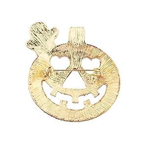 Lux Accessories Halloween Happy Jack-O-Lantern Orange Ghost Pumpkin Brooh Pin