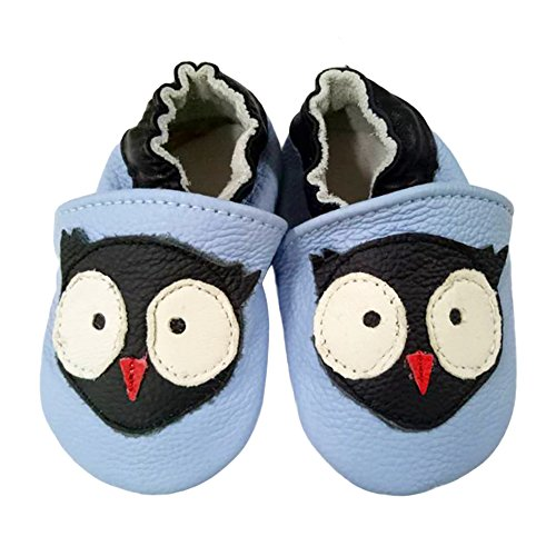 Image of LSERVER Baby Boys Girls 0-2Yrs Months Toddlers Soft Sole Leather Infant Shoes Crib Shoes Light Blue Owl L