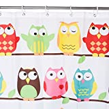 Owl Shower Curtain Moldiy Little Owl Design Polyester Shower Curtain,Multi-Color