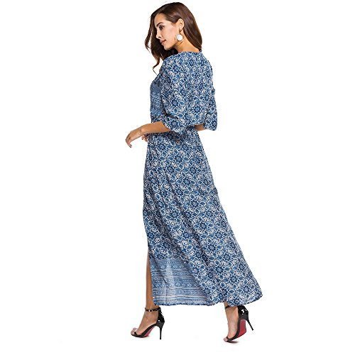 Women Bohemia V-Neck Floral Print Ethnic Autumn Beach Boho Long Dress Retro Hippie Vestidos Boho Dress at Amazon Womens Clothing store: