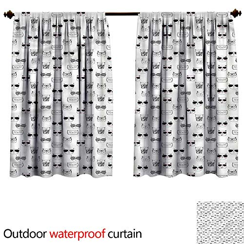 BlountDecor UPF Outdoor curtainAnti-Water W84 x L72(214cm x 193cm) Cat,Cool Hipster ()