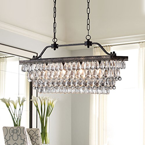 Antique Bronze Rectangular Crystal Chandelier Dining Room Ceiling Fixture Light (Room Dining Rectangular)