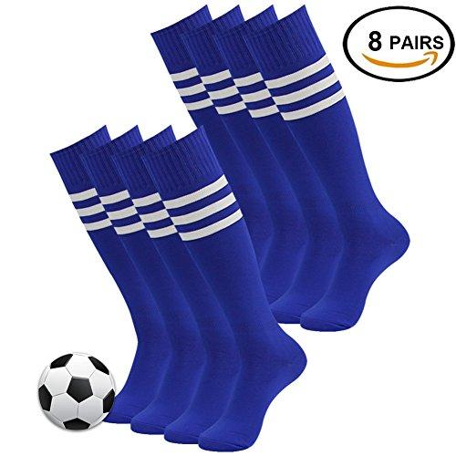 Soccer Game Socks, 3street Unisex Long Knee High Striped Pattern Wicking Moisture Comfortable Sport Football Soccer Team Compression Socks Blue 8 - Flash Vintage Nylon