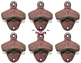 Set of 6 ''Open Here'' Cast Iron Wall Mount Bottle Opener Vintage Look Replica