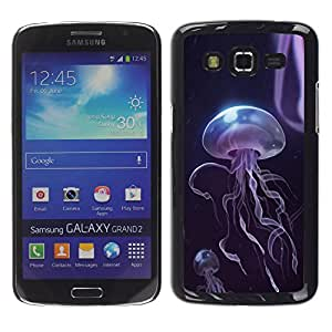 Shell-Star Arte & diseño plástico duro Fundas Cover Cubre Hard Case Cover para Samsung Galaxy Grand 2 II / SM-G7102 / SM-G7105 ( Purple Sea Creature Jellyfish Black )