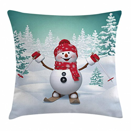 Ambesonne Christmas Throw Pillow Cushion Cover, Snow Covered Mountain with Fir Trees and Skiing Snowman Fun Holiday Activity, Decorative Square Accent Pillow Case, 18 X 18 Inches, Teal Red White (Skiing Snowman)