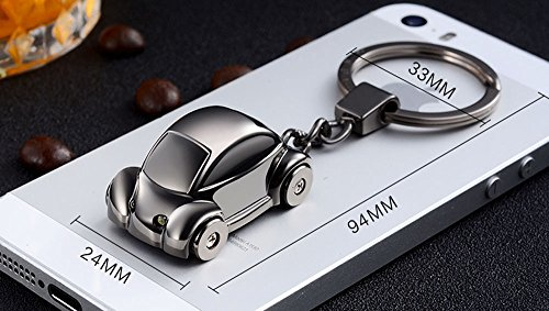 Jobon Mini Beetle Car Stylish Keychain with SOS Flashlight Made of Stainless Electroplated Alloy Same Cute Worth Collecting (Silver)]()