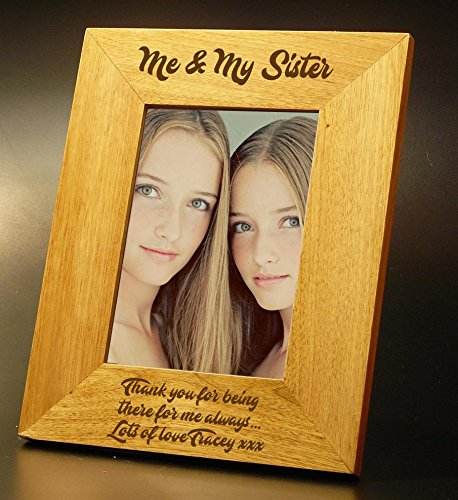 Me and My sister Gift Personalised Oak Photo Frame - 5 x 7 ukgiftstoreonline 5060534902701