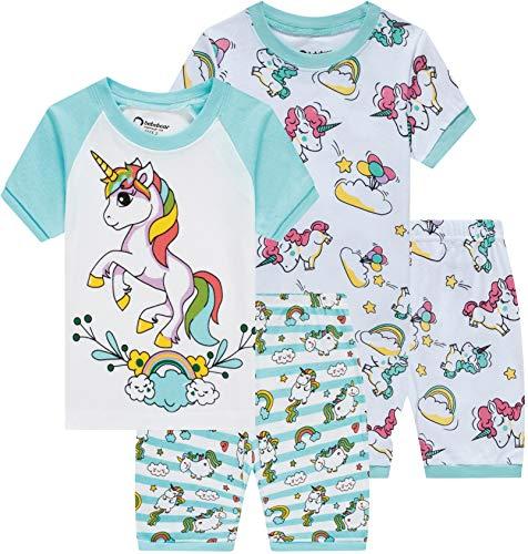 (Pajamas for Girls Summer Baby Clothes Kid Children Horse PJs Short Set 4 Pieces Sleepwear)