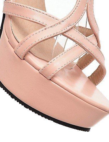 ShangYi Womens Shoes Heel Heels / Peep Toe / Platform Sandals / Heels Outdoor / Dress / Casual Black / Pink / White Pink
