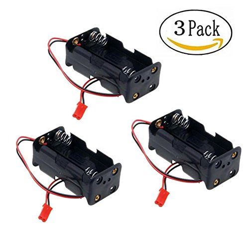 HobbySoar 4 Cell AA Battery Container Case holder Pack Box with JST Plug Receiver for HSP Redcat 1/8 1/10 RC Nitro Power Car (Pack of 3)