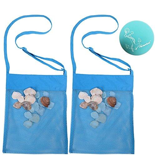 Rimobul Sand Away Beach Treasures Seashell Pocket Mesh Bags - Set of 2 (Large) (Baby Blue)