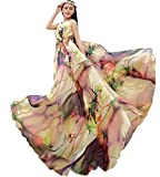 Medeshe TM Women's Chiffon Floral Holiday Beach Bridesmaid Maxi Dress Sundress (Length-135cm)