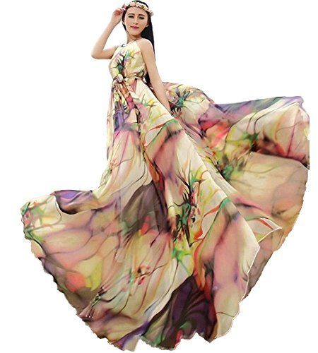 - Medeshe TM Women's Chiffon Floral Holiday Beach Bridesmaid Maxi Dress Sundress (Length-135cm)