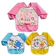 Baby Bibs with Sleeves, Waterproof 3 Pack Unisex Baby Waterproof Long Sleeved Bibs for 6-month Infants to 3-year-old Toddlers (Under 20kg)