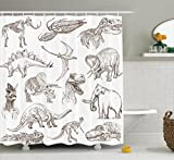 Jurassic Shower Curtain by Ambesonne, Collection of Various Dinosaurs Illustrations Gigantic Skeleton Biology Historic, Fabric Bathroom Decor Set with Hooks, 75 Inches Long, Gold White