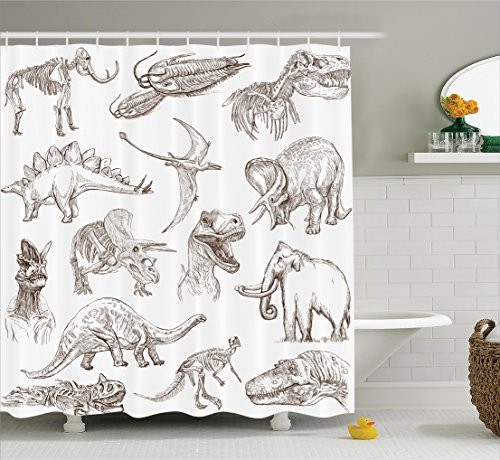 Ambesonne Jurassic Shower Curtain, Collection of Various Dinosaurs Illustrations Skeleton Biology Historic, Fabric Bathroom Decor Set with Hooks, 75 Inches Long, Dark Brown White (Shower Various Curtain)