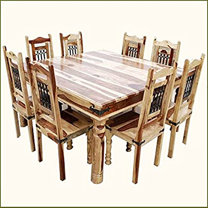 Image Unavailable Not Available For Color Large Solid Wood Dallas Square Dining Table
