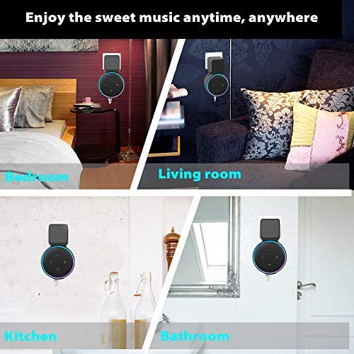 Echo Dot Wall Mount Holder, Echo Dot Mount third Generation Space-Saving Accessories for Dot (third Gen) Smart Speakers, Clever Echo Dot Accessories with Built-in Cable Management Hide Messy Wires