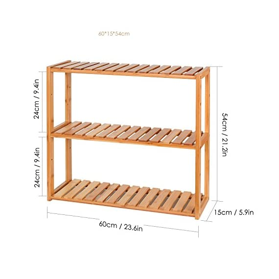 HOMFA Bamboo Bathroom Shelf 3-Tier Multifunctional Adjustable Layer Rack Wall Mounted Utility Storage Organizer Towel Shelves Kitchen Living Room Holder Natural Color - ✿GOOD MATERIAL: Made of 100% natural bamboo Eco-friendly material and some mounting accessories, this storage rack is stable, durable, well made and Eco-friendly. ✿SAFE & EFFICIENT DESIGN: With its smooth surface finish, countersink screws and rounded corners, this shelf will not cause harm to your belongings or your children. And this bamboo rack can be wall mounted or placed on the ground, very convenient and useful. ✿MULTIFUNCTIONAL USE: The bamboo shelf is suitable to be placed in the hall, living room, bedroom, balcony or on the kitchen, bathroom wall. With the 3 tiers bamboo storage shelf you can have enough space to place many your stuffs, such as toiletries, towels, sundries, shoes, books, plants, spice and small appliances, help you organize your home comfortable and tidy. - shelves-cabinets, bathroom-fixtures-hardware, bathroom - 51F5el8s8CL. SS570  -