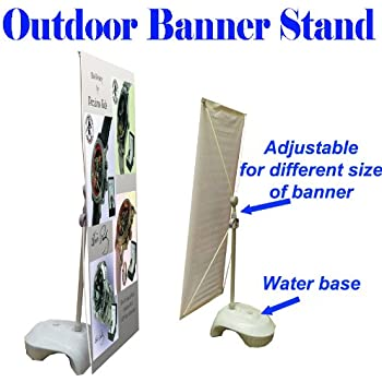 Outdoor Single Sides Adjustable X Banner Stand w/ Water Base Display Banner