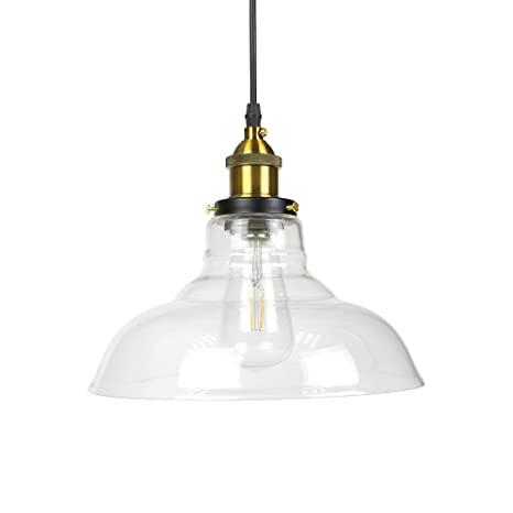 WINSOON 11 X 10 Inch Vintage Industrial Ceiling Lamp Clear Glass ...