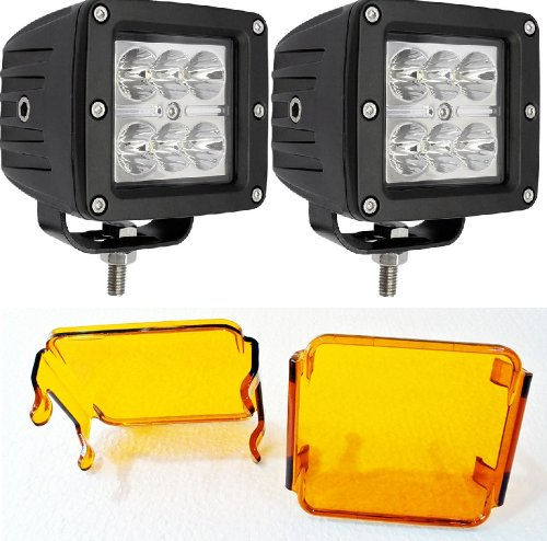 6KLED 418 18W 3' Square LED Work Light 3x3 Side by Side ATV JK UTV Quad Auxiliary Lighting FLOOD UTV ATV RZR 570 800 900 XP1000 FREE 2 AMBER Covers (Pack of 2)