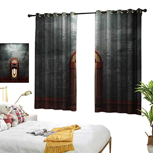 LsWOW Bedroom Curtains W63 x L63 Jukebox,Scary Movie Theme Old Abandoned Home with Antique Old Music Box Image,Petrol Green and Brown Thermal Insulated Blackout Curtains