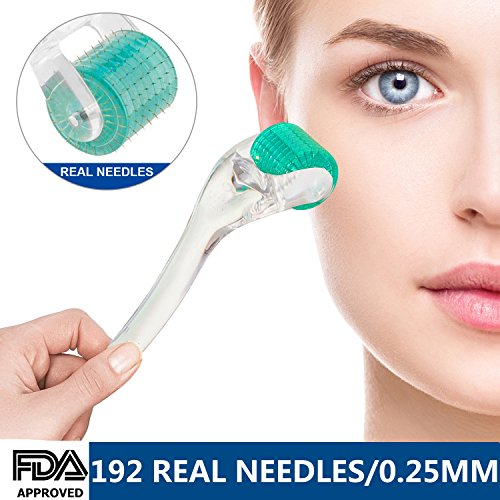 Derma Roller .25mm, Cosmetic Needling Instrument For Face 192 Medical Grade Stainless Steel Micro Needle Skin Care Tool for Wrinkles Beauty Home Use With Storage Case