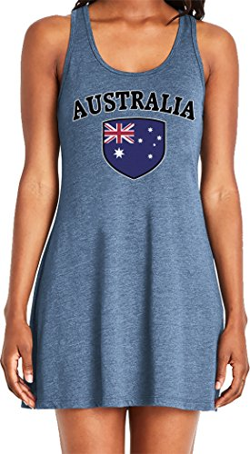 Amdesco Ladies Australia Flag Shield, Australian Pride Casual Racerback Tank Dress, Indigo 2XL