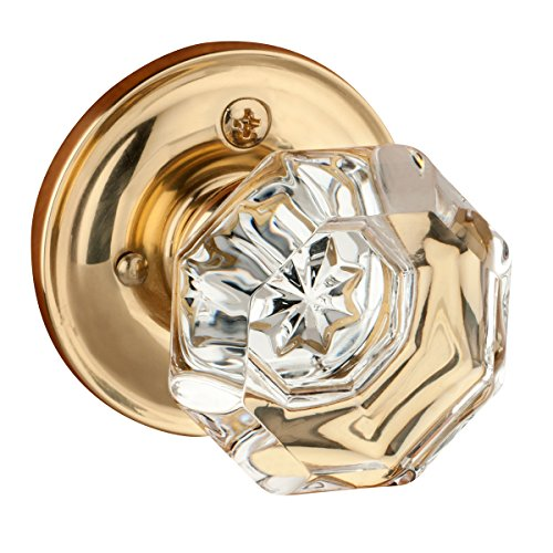 - Dynasty Hardware Classic Rosette, Crystal Style Door Knob, Privacy - Bed/Bath Function, Polished Brass