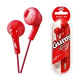 UKDapper JVC HAF160 Red Gumy Bass Boost Stereo Headphones for iPod, iPhone, MP3 and Smartphone