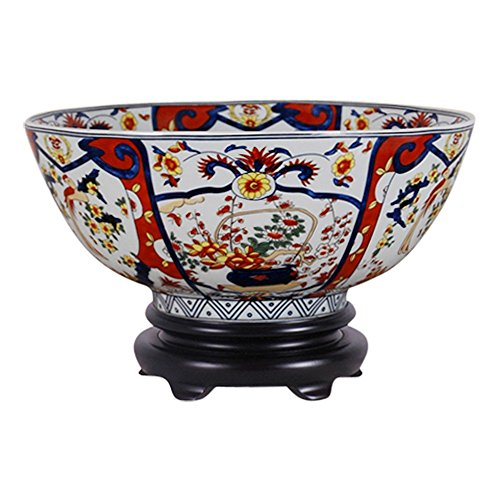 Beautiful Imari Style Porcelain Bowl with Stand 14
