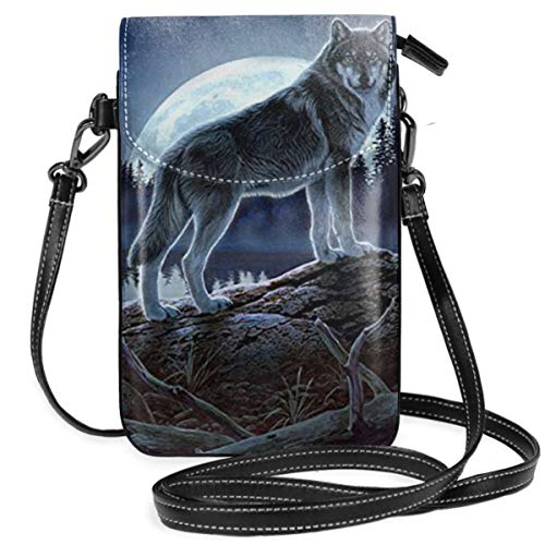 Small Cell Phone Purse For Women Leather Wolf Moon Insides Card Slots Crossbody Bags Wallet Shoulder Bag