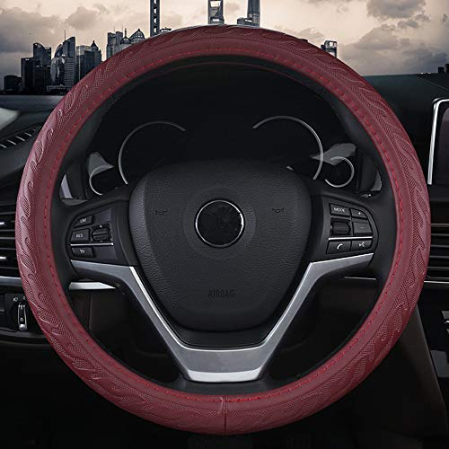 GUVDYJ Steering Cover 38cm Four Seasons Luxury Genuine Leather Car Steering Wheel Cover 3D Anti-Skid Pattern Auto Steering Covers Car Styling Black,Wine Red from GUVDYJ